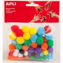 APLI Sachet 78 pompons couleurs assorties
