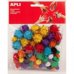 APLI Sachet de 78 pompons brillants couleurs assorties