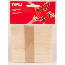 APLI Sachet de 50 bâtons en bois naturel  115 x 10 mm