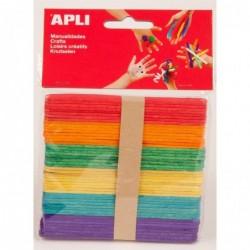 APLI Sachet de 50 bâtons en bois couleurs assorties 115 x 10 mm