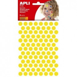 APLI Pochette 528 gommettes jaune Ø 10,5 mm