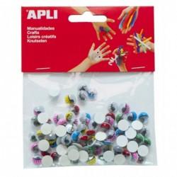 APLI Sachet de 100 yeux mobiles ovale avec cils couleurs assorties adhésif  assorties