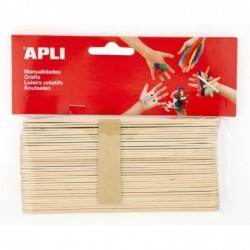 APLI Sachet 40 bâtons en bois naturel  150x15 mm