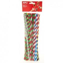 APLI Sachet 50 chenilles bicolore couleurs assorties  30 cm