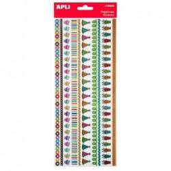 APLI Stickers bordure paillettes cupcakes - 1 feuille 12,5x31,6 cm