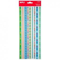APLI Stickers bordure à paillettes Printemps - 1 feuille  12,5x31,6 cm