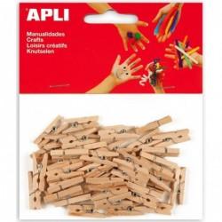 APLI Sachet de 45 mini pinces en bois couleur naturel  25 x 3 mm