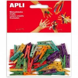 APLI Sachet de 45 mini pinces en bois couleurs assorties  25 x 3 mm