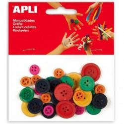APLI Sachet de 30 boutons en bois tailles et couleurs assorties