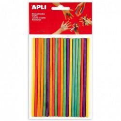 APLI Sachet de 25 pics en bois bouts plats couleurs assorties  150 x 5 mm