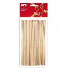 APLI Sachet de 50 pics en bois bouts pointus couleurs assorties  200 x 3 mm