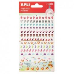 APLI Stickers mini animaux fond transparent - 1 feuille  10x18,7 cm