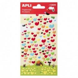 APLI Stickers en résine coeurs - 1 feuille  10x18,7 cm