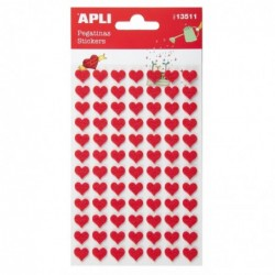 APLI Stickers en feutrine coeurs - 2 feuilles  10x18,7 cm
