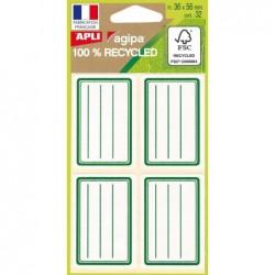 AGIPA Pochette de 32 étiquettes scolaires vertes 100% recyclé  36 x 56 mm