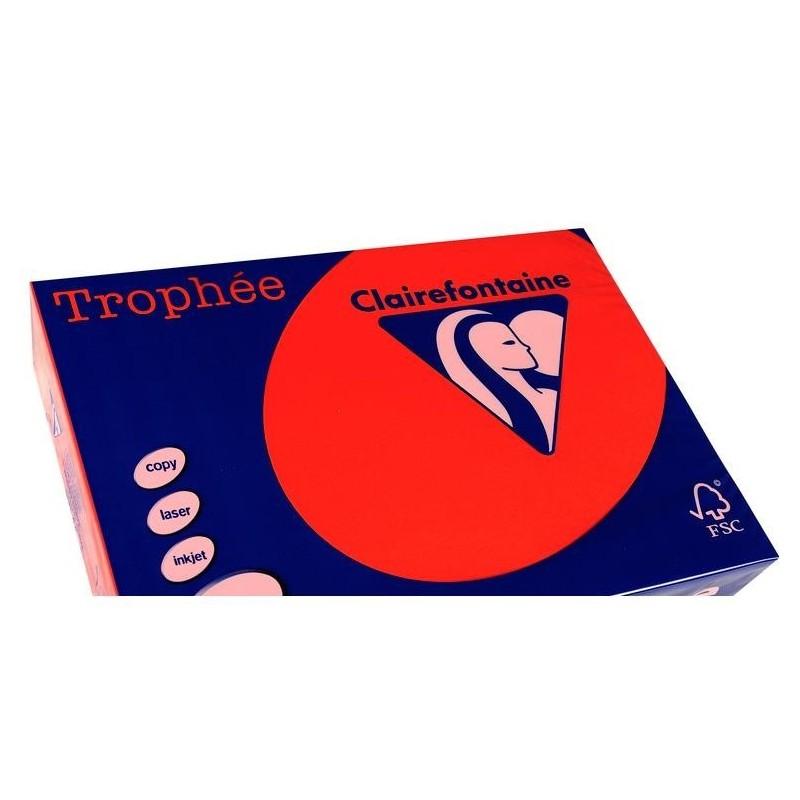 TROPHÉE Ramette 250 Feuilles Papier 120g A3 420x297 mm Certifié FSC  rouge corail