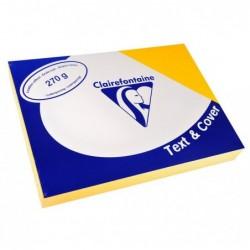 CLAIREFONTAINE Pqt de 100 Couvertures reliure Text&Cover Cuir 270g A4 210x297 mm Jaune tournesol