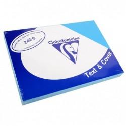 CLAIREFONTAINE Pqt de 100 Couvertures reliure Text&Cover Cuir 240g A4 210x297 mm Bleu lazulite