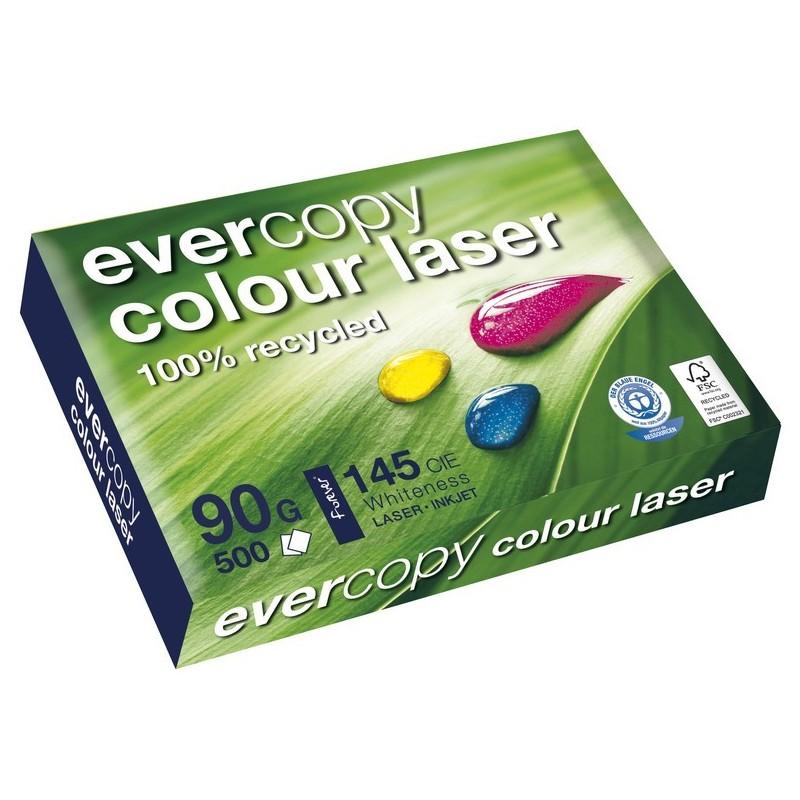 EVERCOPY Ramette 500 Feuilles Papier 90g A4 210x297 mm Certifié Ange Bleu COLOUR Laser Blanc