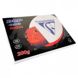 CLAIREFONTAINE Ramette 250 Feuilles Papier DCP 200g SRA3 450x320 mm Certifié FSC Couché Brillant Blanc