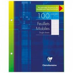 CLAIREFONTAINE Pqt de 50 Feuillets Mobiles 17x22 cm 100 Pages Q.5x5