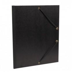 CLAIREFONTAINE Carton à dessin 26x33 vergé kraft noir élastique