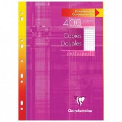 CLAIREFONTAINE Copies doubles perforées s/étui 21x29,7 400p Q.5x5 + Marge