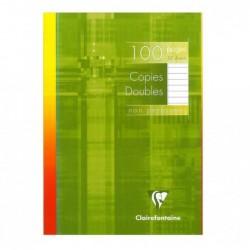 CLAIREFONTAINE Copies doubles non perforées s/étui 21x29,7 100p ligné