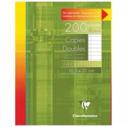 CLAIREFONTAINE Copies non perf. s/étui 16,5x21 200 p ligné + marge