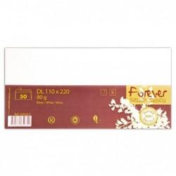 FOREVER Enveloppe 110x220 FOREVER 80g blanc, pqt 50