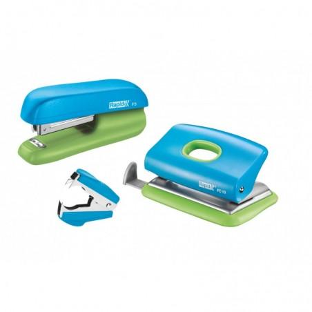 RAPID Set mini agrafeuse F5 + perforateur FC10 + otagraf + 1000 agrafes n°10 Bleu Vert