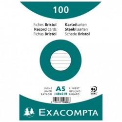 EXACOMPTA Paquet de 100 Fiches Bristol A5 blanc ligné. s/s film