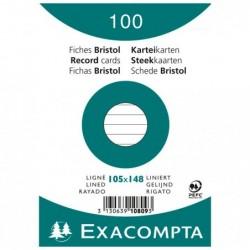 EXACOMPTA Paquet de 100 Fiches Bristol A6 blanc ligné. s/s film