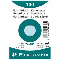 EXACOMPTA Paquet de 100 Fiches Bristol A7 bleu ligné s/s film