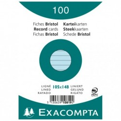 EXACOMPTA Paquet de 100 Fiches Bristol A6 bleu ligné. s/s film
