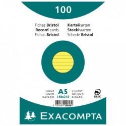 EXACOMPTA Paquet de 100 Fiches Bristol A5 jaune ligné. s/s film