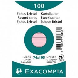 EXACOMPTA Paquet de 100 Fiches Bristol A7 rose ligné s/s film