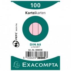 EXACOMPTA Paquet 100 fiches bristol A8 travers Rose
