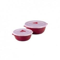 """XAVAX Lot de 2 boîtes de congélation/micro-ondes """"Rondes"""" Turquoise ou Bordeaux"""