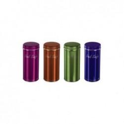 XAVAX Boîte métallique pour dosettes de café ou thé  Coloris aléatoire rose/vert/orange/bleu