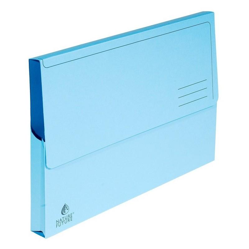 EXACOMPTA Paquet de 50 chemises à poche Nature Future carte jura 220g Bleu pastel