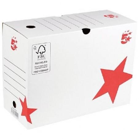 5 ETOILES boîte à archives dos de 15 cm, en carton ondulé kraft blanc
