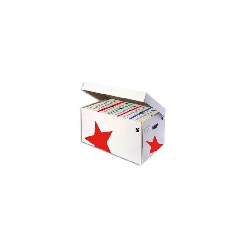 5 ETOILES Conteneur à archives ouverture sur le dessus, en carton ondulé kraft blanc