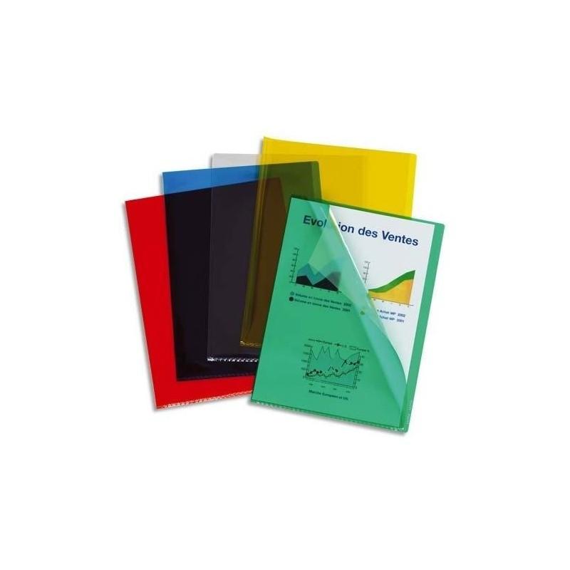 ESSELTE Boite de 100 pochettes coins en PVC 20µ vert, peut contenir jusqu'à 40 feuilles