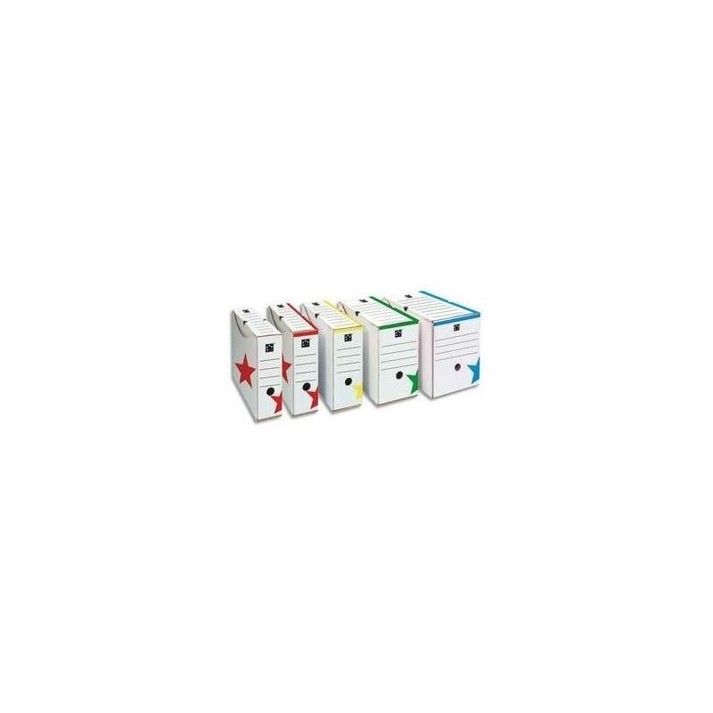 5 ETOILES Boîte archive dos 10cm, montage automatique, kraft blanc imprimé rouge