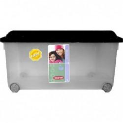 EXACOMPTA Boîte de rangement Multiboxx 70L avec roulettes Office cristal