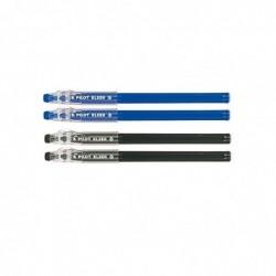 PILOT Pochette de 4 Stylo bille effaçable KLEER pointe moyenne noir et bleu