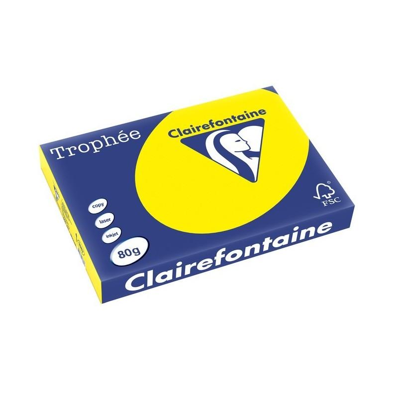 TROPHÉE Ramette 500 Feuilles Papier 80g A3 420x297 mm Certifié FSC  jaune soleil