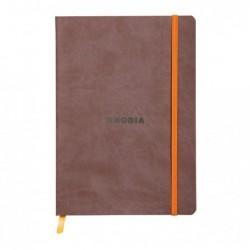 CLAIREFONTAINE RHODIARAMA carnet souple CHOCOLAT A5 ligné 160p pap ivoire Clf 90g ferm. élast.