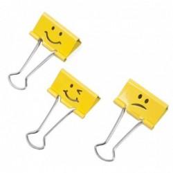 RAPESCO Bte de 20 Pince double clip (L)32 mm jaune, Emoji